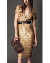 Burberry | Gold Sequin Cross-over Dress | Lyst