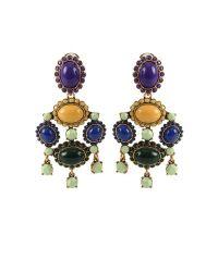 Oscar de la Renta | Green Gold-Plated Cabochon Clip Earrings | Lyst