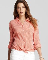 C&C California | Orange Shirt Tie Front Gingham Shirt | Lyst