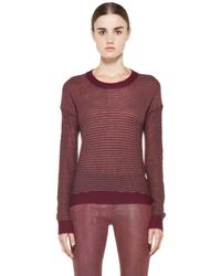 Enza Costa   Red Cashmere Reverse Stripe Crew Sweater   Lyst