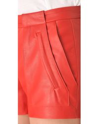A.L.C. - Red Leather Smith Shorts - Lyst