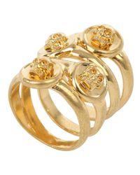 Alexander McQueen - Metallic Gold Quad Band Skull Ring - Lyst