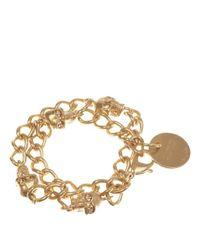 Alexander McQueen - Metallic Gold Skull Chain Bracelet - Lyst