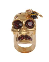 Alexander McQueen | Metallic Goldred Crystal Bee and Skull Cocktail Ring | Lyst