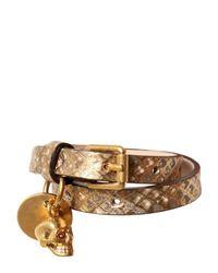 Alexander McQueen - Metallic Skull Charm Python Bracelet - Lyst