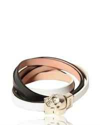 Alexander McQueen - White Skull Nappa Leather Bracelet - Lyst