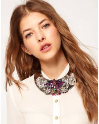 ASOS - Purple Jewel Encrusted Torque Necklace - Lyst