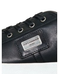 Dolce & Gabbana   Black Uk Logo Perforated Leather Sneakers for Men   Lyst