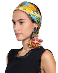 Dolce & Gabbana | Multicolor Pom Pom Raffia Clip On Earrings | Lyst