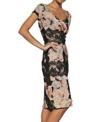 Dolce & Gabbana | Green Cross-back Floral-print Silk Dress | Lyst