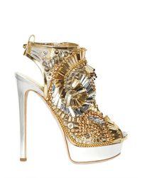 DSquared² | Metallic 150mm Laminated Leather Beaded Sandals | Lyst