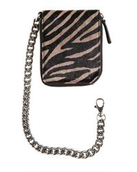 Jimmy Choo | Black Zebra Printed Leather Chained Wallet for Men | Lyst