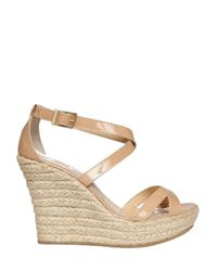 Jimmy Choo | Natural 120mm Porto Patent Criss Cross Wedges | Lyst