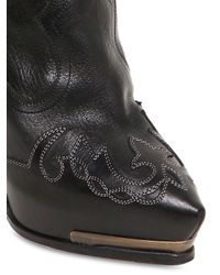 Lanvin   Black 130mm Embroidered Leather Boots   Lyst