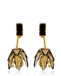 Marni | Metallic Clip On Horn Flower Earrings | Lyst