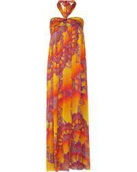 Matthew Williamson - Orange Printed Silkchiffon Dress - Lyst
