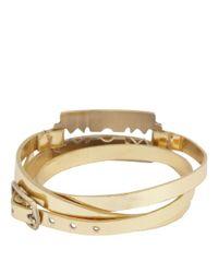 McQ | Gold Metallic Razor Triple Wrap Bracelet | Lyst