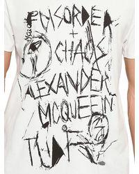 McQ - White Graffiti Print Jersey Logo Badge T-shirt for Men - Lyst