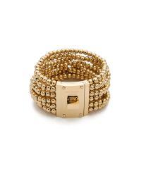 Michael Kors | Metallic Bead Turn Lock Bracelet | Lyst
