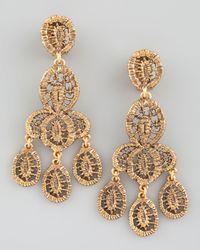Oscar de la Renta | Metallic Looped Lace Cluster Earrings Yellow Golden | Lyst
