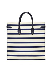 Ralph Lauren - White Rickie Striped Canvas and Leather Tote - Lyst