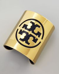 Tory Burch | Metallic Leather Stencil Logo Cuff Blue | Lyst