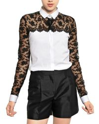 Valentino | White Cotton Lace On Cotton Poplin Shirt | Lyst