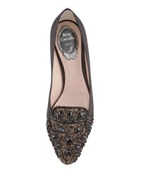 Rene Caovilla | Black Satin and Lace Embellished Loafer | Lyst