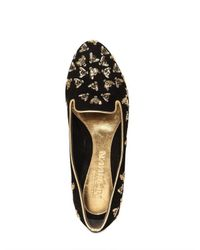 Alexander McQueen | Black Suede Bee Embroidery Loafers | Lyst