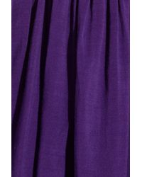 Alice + Olivia - Purple Caprice Pleated Cotton-blend Dress - Lyst