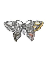 CZ by Kenneth Jay Lane - Metallic Butterfly Mother Of Pearl Crystal Brooch - Lyst