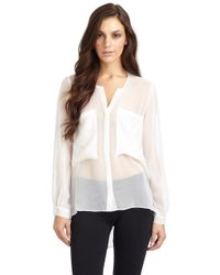 David Lerner | White Oversized Pocket Button Down with Open Back | Lyst