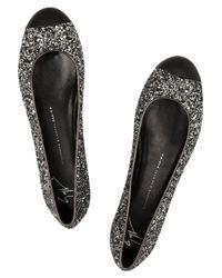 Giuseppe Zanotti - Black Glitter Finished Leather Ballet Flats - Lyst