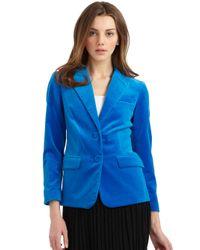 Halston   Electric Blue Velvet Blazer   Lyst