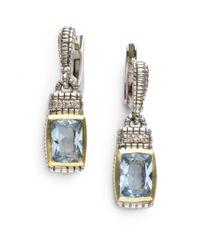 Judith Ripka | Metallic Diamond Blue Quartz Drop Earrings | Lyst