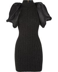 Lanvin - Gray Ribbed Wool-blend and Silk-gazar Dress - Lyst