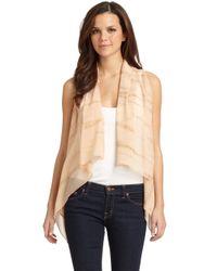 Maggie Ward - Natural Leather Silk Chiffon Vestbeige - Lyst