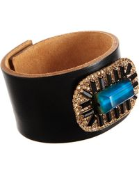 Marni - Blue Leather Cuff with Multitonal Jewel Embellishment - Lyst
