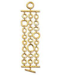 Lauren by Ralph Lauren - Metallic Three Row Hammered Link Bracelet - Lyst