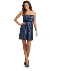 BCBGMAXAZRIA | Blue Polka Dot Party Dress | Lyst