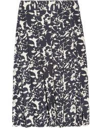 Farhi by Nicole Farhi Blue Printed Silk Skirt