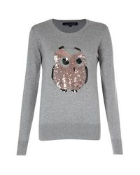 French Connection | Gray Lady Owl Sequin Jumper | Lyst