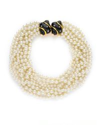 Kenneth Jay Lane - Natural Faux Pearl Swarovski Necklace - Lyst