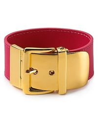 Lauren by Ralph Lauren | Red Leather with Buckle Bracelet | Lyst