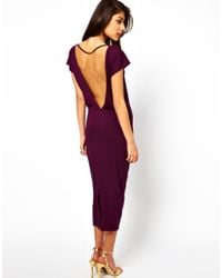 ASOS Collection - Red Midi Dress with Deep V Back - Lyst