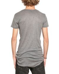 Balmain | Gray Raw Cut Ribbed Cotton Jersey T-Shirt for Men | Lyst