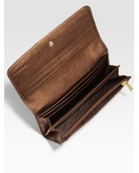 Burberry | Beige Penrose Coated Canvas Metallic Trim Continental Wallet | Lyst