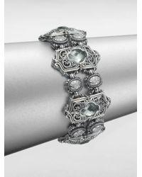 Konstantino | Metallic Prasiolite Sterling Silver Medallion Link Bracelet | Lyst