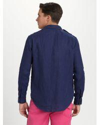Polo Ralph Lauren - Blue Linen Military Shirt for Men - Lyst
