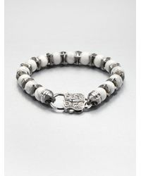Stephen Webster | White Sterling Howlite Beaded Bracelet for Men | Lyst